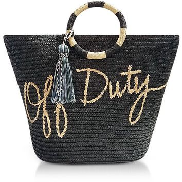 Rebecca Minkoff Off Duty Black Straw Tote