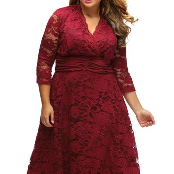 Chicloth Purplish Red Plus Surplice Neck Ruched Waist Floral Lace Swing Dress