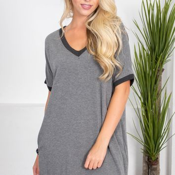 Charcoal Grey Pocket Dress