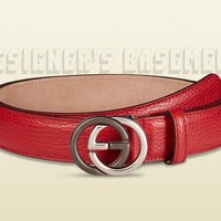 GUCCI red leather 44-110 2-tone metal INTERLOCKING G buckle Slim belt NWT Authen