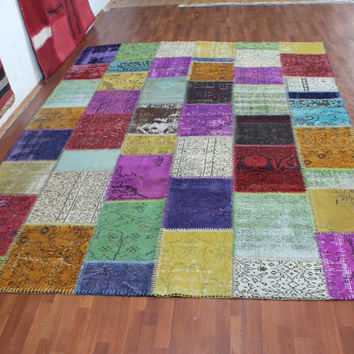 Overdyed Handmade Turkish Patchwork Carpet Multicolour  - Vintage Overdyed Turkish Rug- (238X311 cm)(7,9 ft X 10,2 ft)