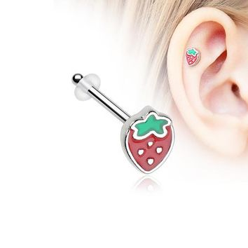 Adorable Strawberry Piercing Stud with O-Rings