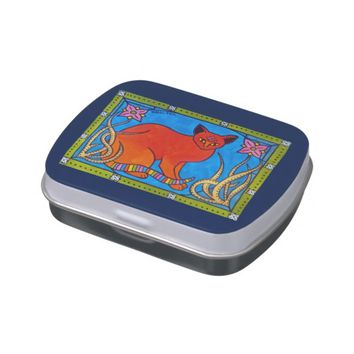 Indian Cat With Lilies Colorful Cat Design Jelly Belly Tin