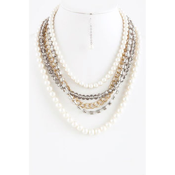 Mix chain pearl layered statement necklace set