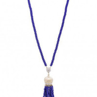 1920's Flapper Style Tassel yellow gold color with blue stones and Rhinestones Drop Chain Necklace- Art Deco Vintage