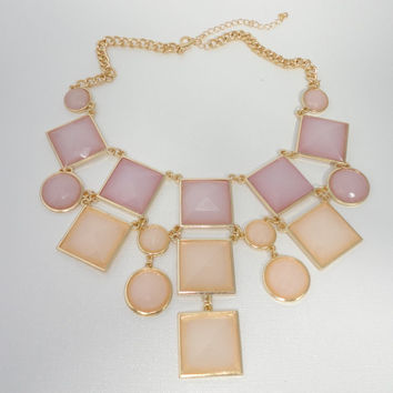 Peach J Crew Inspired Statement Necklace- Bib Necklace- Bridal Jewelry- Bridesmaids Gift