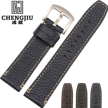 Vintage Watch Strap For Armani/Panerai/Hamilton Genuine Leather Mens Metal Buckle Watchbands 22 24mm Male Watch Strap Bracelet