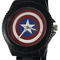 Captain America Shield Mens Watch With Black Metal Band