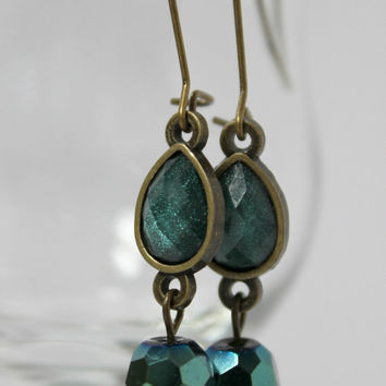 Antiqued Gold and Teal Green Teardrop Dangle Earrings on Kidney Earwires - Long Earrings - Ready to Ship