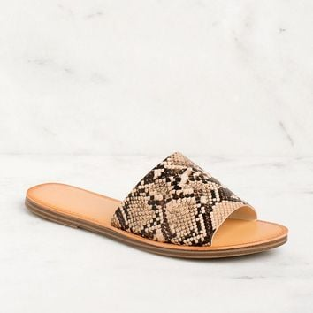 Barbara Vegan Snakeskin Slide Sandals