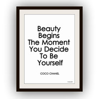 Chanel quotes, Beauty begins the moment, Wall Art, fashion decor, paris decals, print, girl room, poster, inspirational, motivation life
