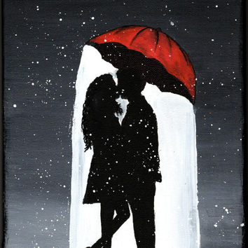 Love Print, Love Wall Art, Under Umbrella Print, Kissing Couple In The Rain