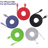 BrankBass 1M/2M/3M 10 Colours Flat Braided Fabic Woven Micro USB Data Sync Charger Cable Cord Wire for iPhone 5 5s 6 6Plus