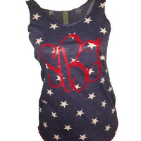 SALE!! CUSTOM Printed Monogram Star Tank -- Perfect for the 4th of July!