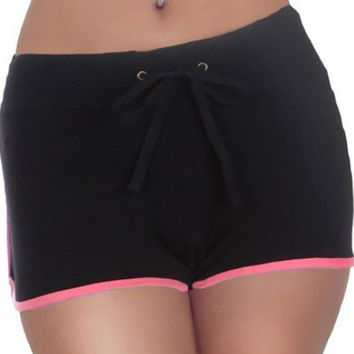Black with Pink Trim Drawstring Shorts
