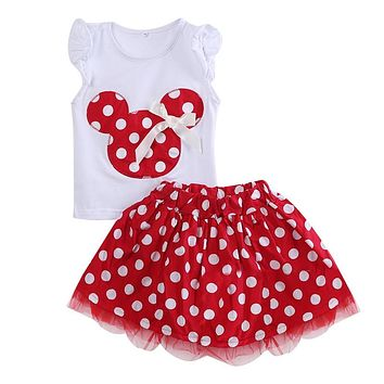 Minnie Mouse Cartoon Kids Girls Clothes Girl Set Children Baby Girl Summer Clothes 2pcs Vest Tops+Lace Tutu Skirt