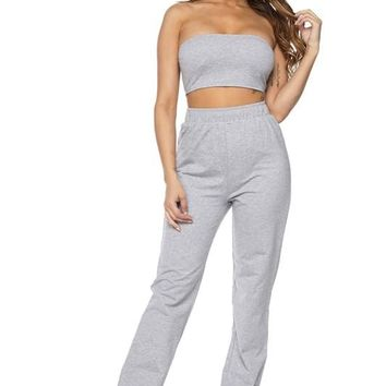 Walk it Talk it Terry Tube & Joggers Set Grey