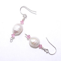 White ivory freshwater pearl drop dangle earring Light pink rose Swarovski crystal earing Sterling silver French hook wire Cream ear ring