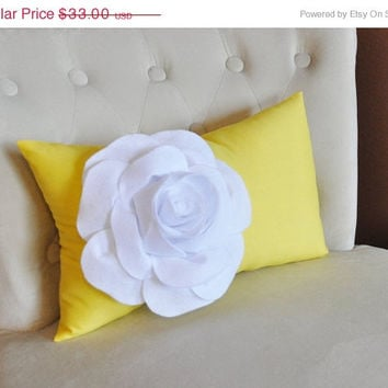 MOTHERS DAY SALE White Rose on Banana Yellow Lumbar Pillow -Decorative Pillow-