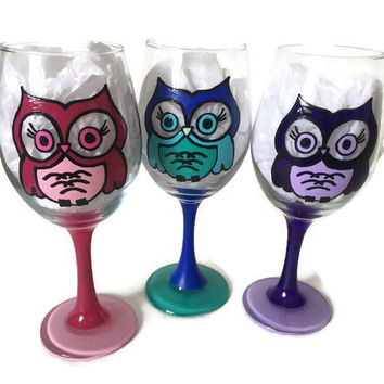 Owl Wine Glass, Owl Drink To That, Personalized Owl, Personalized Wine Glass, Owl Gifts, Owls, Owl Gifts, Owl Wine Glass, Owl, Owl Gift, Owl