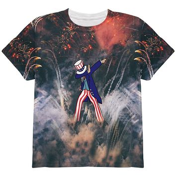 4th of July Dabbing Uncle Sam Fireworks Sub All Over Youth T Shirt