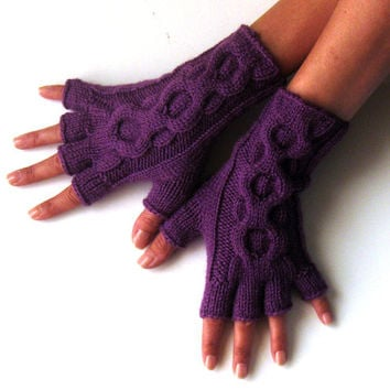 Short Cable Gloves Half Fingers Purple Hand Warmers Winter Wool Arm Warmers Knit Cable Mitts Fingerless Gloves Fingerless Mittens - KG0074