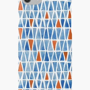 'Mosaic pattern of blue and red triangles' iPhone Case/Skin by Foxeye Daisy