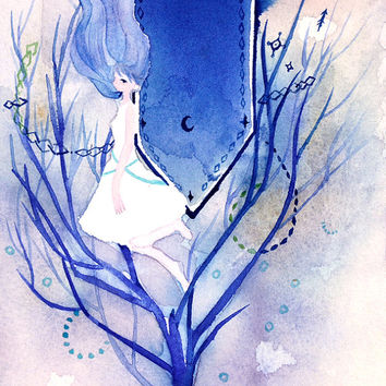 "Original watercolor Painting  5x7 fantasy illustration ""海に吸われて""  - Original picture, fairy illustration, sea,coral"