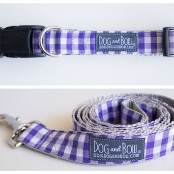 Purple Gingham Dog Collar with Optional Leash by Dog and Bow