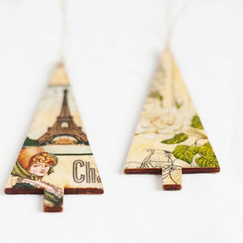 "Tiny rustic style wooden christmas ornaments ""Christmas Tree"", set of 2 - handmade, christmas decor, gift ideas, decor, paris"