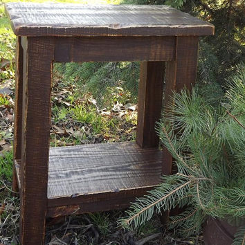 Rustic/ Reclaimed wood/ Farmhouse/ stool/ Sitting stool/ walnut stain/ small/ side table/bench