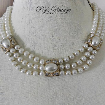1950's Multi Strand Faux Pearl Collar Necklace, Glamorous Pearl & Rhinestone Bridal Necklace/Choker