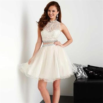 White Halter Lace Two Piece Tulle Homecoming Dresses with Applique Bead Belt