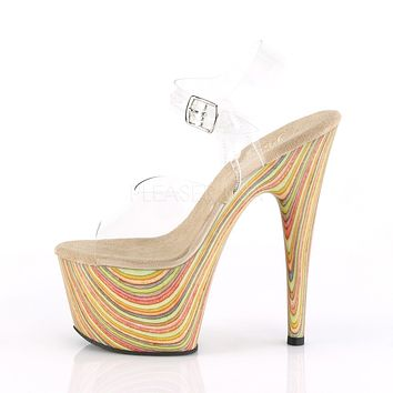 "Adore 708JB Multi Color Wood Grain Look Platform 7"" High Heel Shoes"