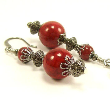Gemstone Jewelry Beaded Earrings~ Red and Gunmetal Silver Rustic Spanish Inspired Dangle Earrings~ Beaded Jewelry~ For Women~ Handmade