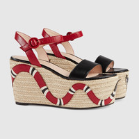 Gucci Leather snake espadrille