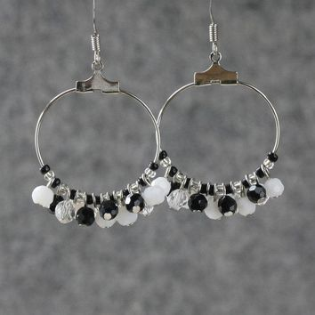 Black and white beaded Hoop Earrings Bridesmaids gifts Free US Shipping handmade Anni Designs