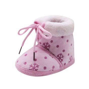 Warm Baby Toddler Winter Booties Snow Print Soft Sole
