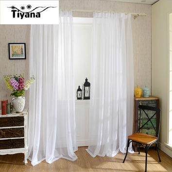Europe Solid White Yarn Curtain Window Tulle Curtains For Living Room Kitchen Modern Window Treatments Decor Voile Curtain