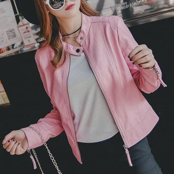 Autumn Winter Women New Fashion Faux Leather Jackets Lady Pink Black Long sleeve Motorcycle Clothing Outerwear