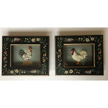Vintage Pair Shadow Box Framed Dimensional French Rooster / Chicken