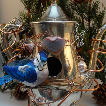 Whimsical Enchanting Repurposed Silver Plated Teapot Birdhouse BH-064