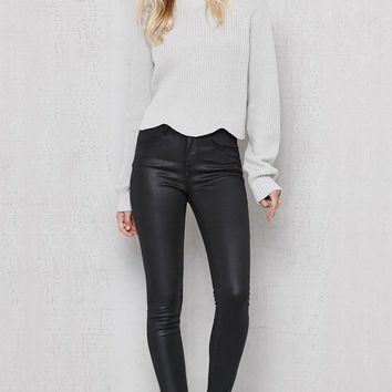 PacSun Coated Black Mid Rise Skinny Jeans at PacSun.com