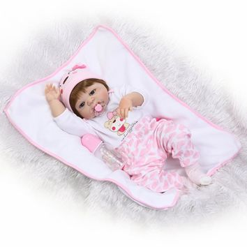 NPK 23'' Full Body Silicone Baby Real Like Baby Doll Toys For Girl Toddler Realistic Reborn Babies Doll Kids Xmas Gifts