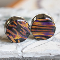 """28mm Plugs, 28mm Ear Gauges, Ear Plugs Gauges, Large Plugs, Double Flare, Polymer Clay Plugs - size 1 1/8"""" (28mm)"""