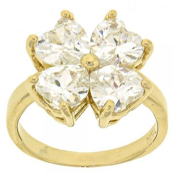 Gold Layered Mult-stone Ring, Four-leaf Clover and Heart Design, with Cubic Zirconia, Gold Tone