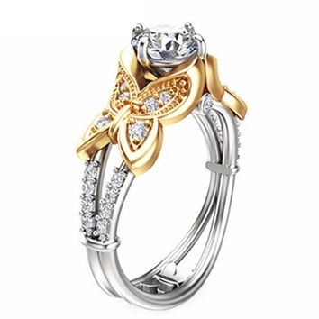 Butterfly Design 1CT Moissanites Engagement Ring Solid 14K Two-Tone Gold Lab Grown Diamond Ring Unique Engagement 585 Gold Ring