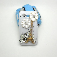 Handmade hard case for HTC Droid Incredible 2: Bling Eiffel tower with elegant white flower (customized are welcome)