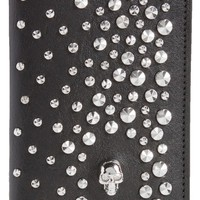 Alexander McQueen Studs & Skull Leather Card Case | Nordstrom