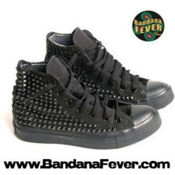CREYUG7 Bandana Fever Custom Studded Black Mono Converse All-Star Chuck Taylor Hi Black Pyrami